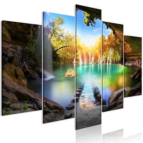 murando Tableau Acoustique Paysage 200x100 cm Impression sur Toile Image 5 Pieces Tableaux murals Absorption Acoustique Tableau Decoration Murale Cascade c-A-0127-b-m