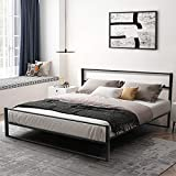 YOLENY Metal Bed Frame King Size,Heavy Duty Platform Bed Frame with Headboard, Modern Design Iron Bed Frame, Easy Assembly