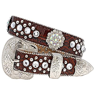 1372 Womens Western Belts Cowgirl Bling Belts Rodeo Belts Plus Size Western Belts For Cowgirls (BROWN, Large)