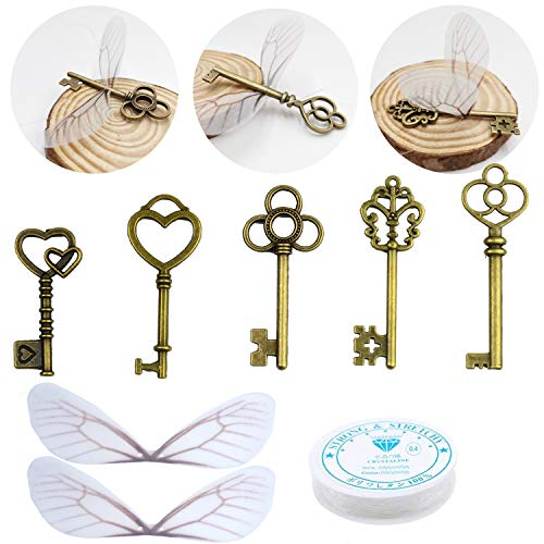50 PCS Vintage Antique Skeleton Keys Flying Keys Enchanted Key With Dragonfly Wings and Clear Fishing Line For Jewelry Making Necklace Earring Charms Crafts Party Favor Home Decoration