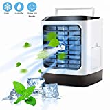 Koopro Personal Quiet Air Cooler Mini with 3 Speeds Portable Evaporative Fan with 7 Color LED Night Light Desk USB Spray Humidifier Purifier with 480ml Clean Water Tank for Home Room Office Outdoor