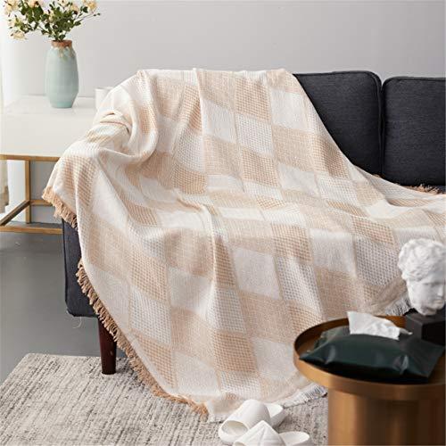 Manta de sofá de algodón Simplicity, Multifunción Manta de borla Tapiz de punto de toalla de hilo Cubierta de piano de mantel Cojín liso Fácil de limpiar Tartán para Sala Cuarto,Beige,180*230 CM
