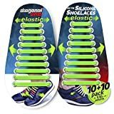Diagonal One No Tie Shoelaces for Kids and Adults - Elastic Silicone Laces Green