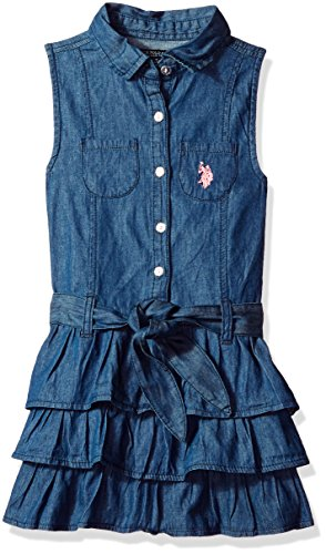 U.S. Polo Assn. Girls' Big Casual Dress, Tiered Ruffle Self tie Belt Medium wash, 10