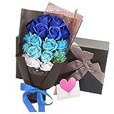 SHENGYANG - Caja de regalo de ramo de rosas artificiales con 18 pétalos de rosa, día de San Valentín, día de la madre, aniversario, cumpleaños (rojo)-Royal Blue