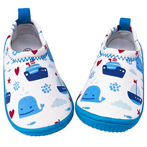 Dream Bridge Zapatillas de Agua para niños niñas Escarpines de Verano Zapatillas de Playa Piscina Surf Water Shoes (Ballena Azul)