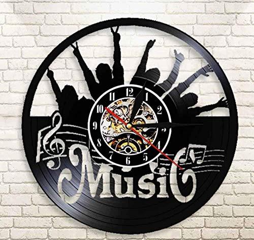 N/A LibjiaPon Tu Mano Música Rock Roll Vinyl Record Reloj De Pared Colgante Moderno Reloj Silencioso Decoración para El Hogar Rock Music Lover Gift