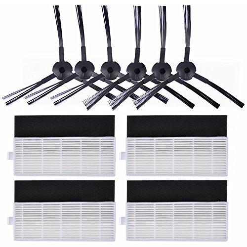 KEEPOW Filtri di Ricambio per Robot Aspirapolvere ILIFE A4s, A6, A4, Include 6 Spazzole Laterali + 4 Filtri di Ricambio HEPA, set di 10
