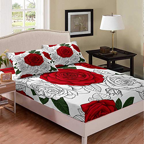 Sketch of Bloom Bed Sheet Set Twin XL Rose Red Leave Bedding Set Black White Bed Sheets for Children KidsBed Covers Bedclothes Room Decor 2pcs Fitted Sheet with Pillow Case