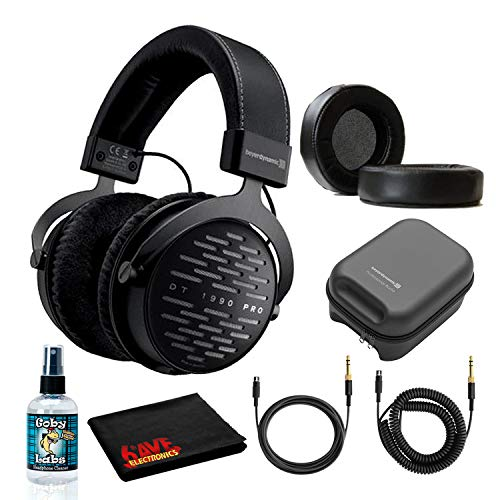 Beyerdynamic DT 1990 Pro Open Studio Reference Headphones 250 Ohm Bundle with Dekoni Audio Choice Leather Earpads, Hard Case, and 6AVE Headphone Cleaning Kit