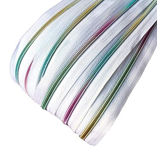 Schnoschi 2 m endlos Reißverschluss weiß mit Regenbogeneffekt 5mm Laufschiene + 5 Zipper, Spiralreißverschluss