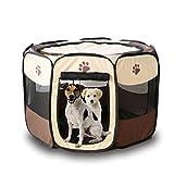 Babysbreath17 Portátil Carpa Plegable para Mascotas Dog House Jaula del Gato de casa de Perro Tienda de campaña Valla Cama del Perrito Kenneles al Aire Libre marrón + Blanco 73 * 73 * 43cm