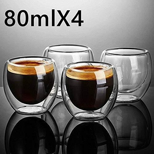 ZFLL Wijnglas New Double Shot Wijnglas dubbelwandig espresso koffiemok koffiemok 80-450 ml hittebestendig 6 stuks 80 ml