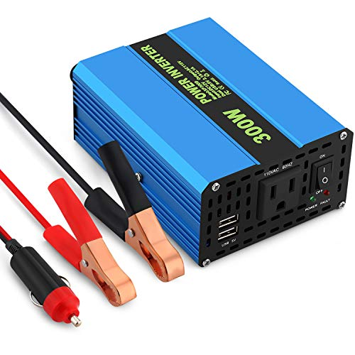300W Car Power Inverter AC DC Converter 12V to 110V Power Converter with Alligator Battery Clamp 42A Dual USB Car Charger