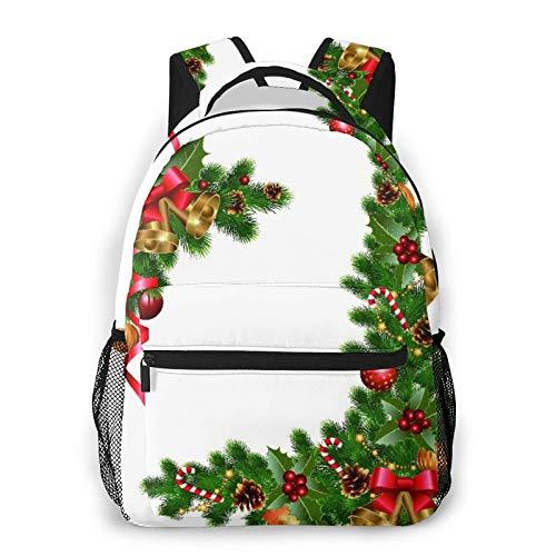 Mochila para adolescentes, hombres, mujeres, paquete de almacenamiento,Adornos navideños con abeto y elementos, Mochila para portátil de viaje para estudiantes de escuela informal de negocios