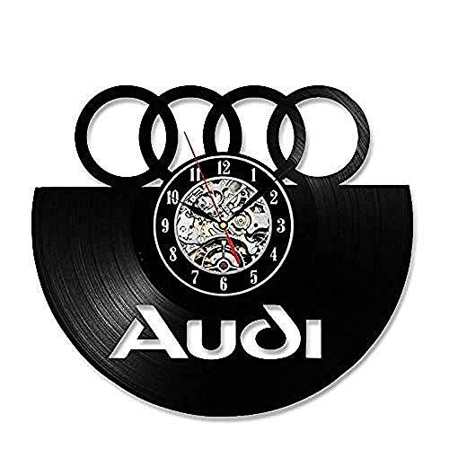 clockfc WanduhrVinyl Record Wanduhr Auto Logo Vinyl Record Wanduhr 3D dekorative hängende Vintage Uhr LED Wanduhr Home Decor Geschenk für Auto-Liebhaber @ Audi-no_Led