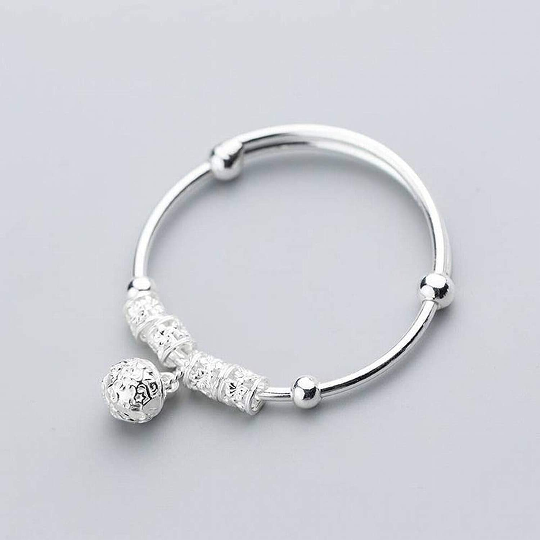 SHOUSHI Women's Western Fashion S925 Silver Bracelet Female Simple Hollow Palace Bell Opening Adjustable Sweet Pattern Hand Jewelry