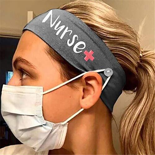ZYYXB Sport Stirnband Yoga Elastische Knopf Haarbänder Stilvolle weiche Frauen Laufen Übung Stirnbänder Haar Accessoires,grau