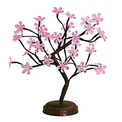 LIGHTSHARE 18-inch Crystal Flower LED Bonsai Tree, Pink Light, 36 LED Lights, Battery Powered or DC Adapter(Included), Built-in Timer