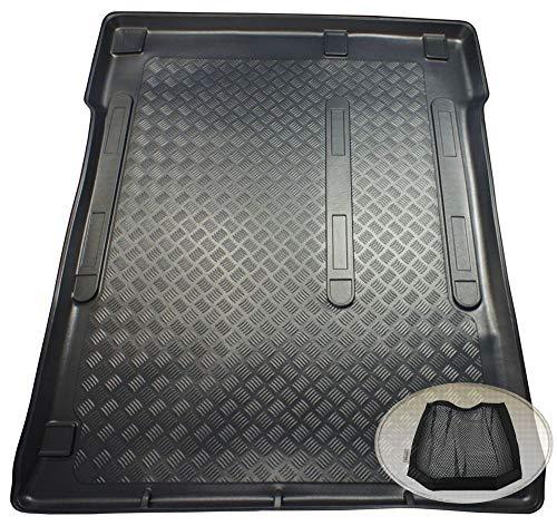 ZentimeX Z3318218 Geriffelte Kofferraumwanne fahrzeugspezifisch + Klett-Organizer (Laderaumwanne, Kofferraummatte)