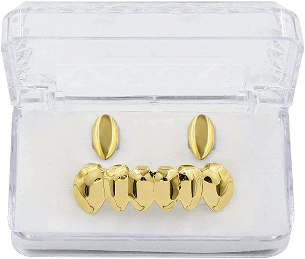 canjoyn 18K Gold Plated 2pcs Single and Grills for Top Bottom Ranking TOP4 1 year warranty Yo