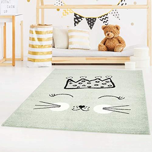 carpet city Kinderteppich Bubble Kids Flachflor mit Katze und Krone in Mint-Grün für Kinderzimmer; Größe: 120x160 cm