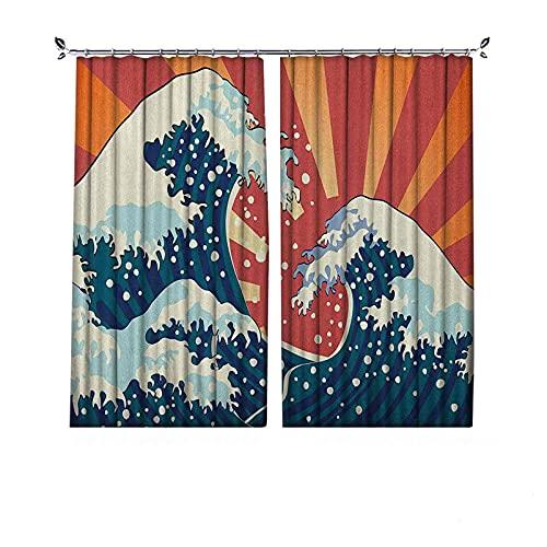 Cortinas plisadas con aislamiento térmico japonés con ondas plisadas, estilo de pintura japonesa, telón de fondo de temporada para surf y agua, para travesaños y rieles, multicolor