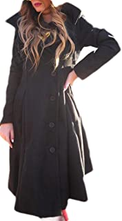 Womens Wool Blend Personality Collar Outwear Slim Trench Coat