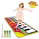 "Magicfun Kids Musical Mat, Musical Piano Mat 8 Instrument Sounds 5 Play Modes with 3xAA Batteries and Screwdriver Set Dance and Learn Mat for 2 3 3+ Year Old Boy Girl Toys 58.26""x 23.62"""