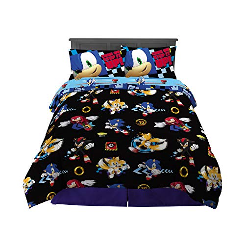Franco Kids Bedding Super Soft Comforter and Sheet Set, 5 Piece Full Size, Sonic The Hedgehog