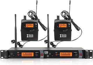 XTUGA RW2080 Sistema de monitor de oído inalámbrico de metal, 2 canales, 2/4/6/8 Bodypacks de monitoreo con auriculares ti...