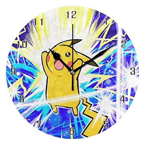 ingshihuainingxiancijies Pikachu World Round Wanduhr Wohnkultur Uhr Batteriebetriebene Stille Nicht-Ticken Tischuhr für Zuhause, Büro, Schule (10 Zoll)