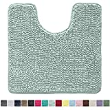 Kangaroo Original Shaggy Chenille Toilet Bath Rug, Oval U-Shape Contour Mat for Toilet, Washable, Mats Contoured for Toilets, Soft, Plush Carpet Rugs for Kids Shower and Bathroom, Seafoam