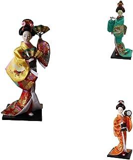 Perfeclan 3ピース 日本着物人形 芸者人形 12インチアクションフィギュア 日本人形 芸者人形モデル 装飾 置き物 人形おもちゃ 日本のお土産 外国人へのプレセント