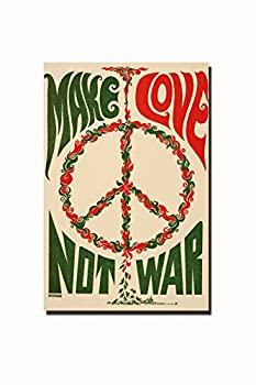 POSTERFORHOME Make Love Not War Art Poster Make Art Not War Art Poster Inspiring Quote Poster Peace Sign Poster Decorative for Home 20  x 30