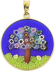 GlassOfVenice Millefiori - Colgante de cristal de Murano, diseño de árbol de la vida, en marco chapado en oro de 2,5 cm