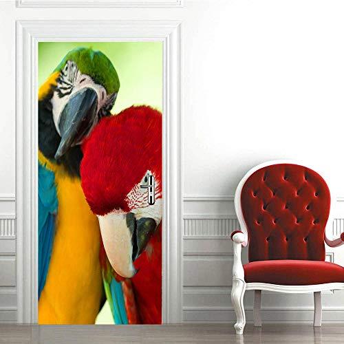 JinwoRyeahs 3D Interior Door Bedroom Sticker Door Sticker Waterproof Self-Adhesive Paper Living Room Bedroom Office Bathroom Family Parrot-Custom Made