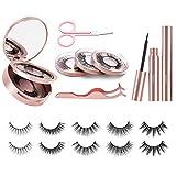 EUASOO Magnetic Eyelashes, Magnetic Eyeliner and Eyelashes Kit Include 5 Pairs Reusable 3D Lashes 2 Waterproof Eyeliners Tweezer and Scissor, Multi Styles False Eyelashes Easy to Wear No Glue Needed