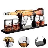 Decanter per vino bianco, 1000 ml AK47 Set di decanter per whisky a pistola grande con 4 proiettile Cup per vino Vodka Rum Set di bicchieri di brandy tequila - Base in legno e pacchetto sicuro