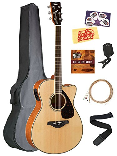 Yamaha FSX820C Solid Top Small Body Acoustic-Electric Guitar - Brown Sunburst Bundle with Gig Bag, Tuner, Strings, Strap, Picks, Austin Bazaar Instructional DVD, and Polishing Cloth