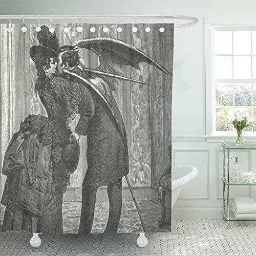 Semtomn Shower Curtain Vintage Kiss Victorian Gothic Vampire Retro Vampires Goth Cool 66'x72' Home Decor Waterproof Bath Bathroom Curtains Set with Hooks