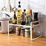 Étagère de cuisine, étagère à épices, en fer et poignée en bois, convient pour le rangement de la maison et de la cuisine, blanc (35 x 21 x 20)