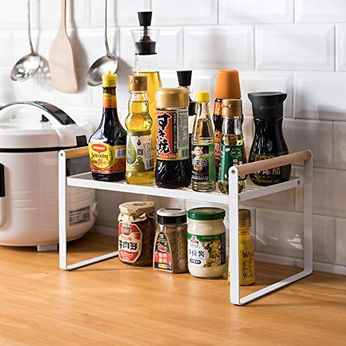 Organizador de estantes de cocina, estantes de especias, mango de hierro y madera, adecuado para almacenamiento en el hogar y la cocina, blanco (35 x 21 x 20)