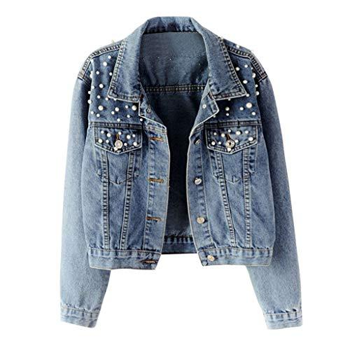 MINIKIMI Donna Manica Lunga Giacca in Jeans Classico Casual Denim Jacket Vintage Strass Slim Giacche Corti Giubbotto Capispalla per Autunno Primavera Giubbotto Cardigan Outerwear (Blu, XXL)