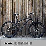 QZ Adulto Bicicleta de montaña for Hombre Estudiante Juvenil Sola Velocidad Antideslizante Bicicleta bicis Ciudad Doble Freno de Disco Road Racing (Color : Black)