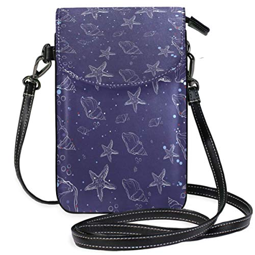 XCNGG Sac pour téléphone portable Starfish Pattern Navy Blue Cell Phone Purse Wallet for Women Girl Small Crossbody Purse Bags