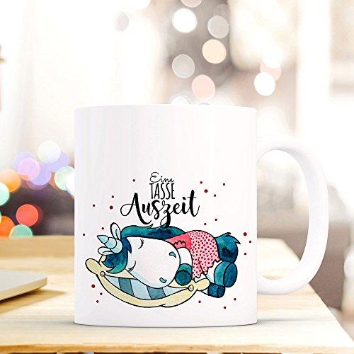 ilka parey wandtattoo-welt® Tasse Becher Kaffeetasse Kaffeebecher zum Muttertag mit schlafendem Einhorn Punkten und Spruch Eine Tasse Auszeit ts434