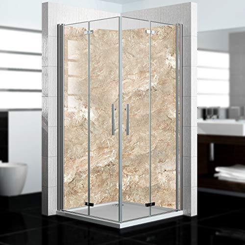 dedeco Eck-Duschrückwand wasserfest mit Marmor V3 Motiv, 2 x 90x200cm, als Badrückwand zum Fliesenersatz, für viele Bäder als Dekorwand, Wandverkleidung und Duschplatte aus Aluminium - Made in Germany