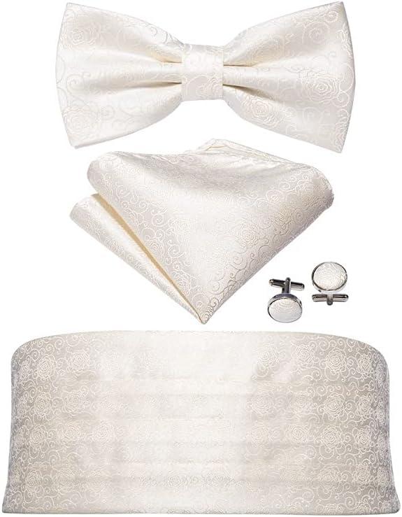 UXZDX Men Silk Floral Bow Tie Set Pocket Square Cufflink Formal Tuxedo Suit Accessories (Color : A, Size : 85cm)