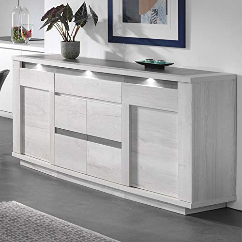 Modern dressoir in eiken wit en grijs CHILDERIC met verlichting M-128